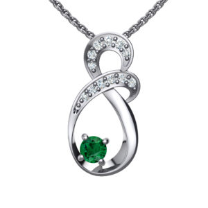"""Solid Sterling Silver Two-tier Decked Round Swarovski Crystals with a 8-Shape Design & Green Emerald on an 17.5"""" Anchor Chain"""