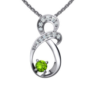 "Solid Sterling Silver Two-tier Decked Round Swarovski Crystals with a 8-Shape Design & Natural Peridot on an 17.5"" Anchor Chain"