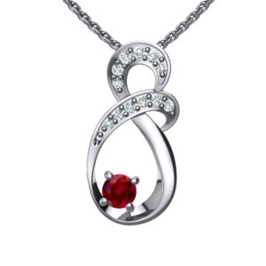 "Solid Sterling Silver Two-tier Decked Round Swarovski Crystals with a 8-Shape Design & Red Ruby on an 17.5"" Anchor Chain"