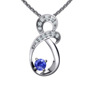 "Solid Sterling Silver Two-tier Decked Round Swarovski Crystals with a 8-Shape Design & Blue Sapphire on an 17.5"" Anchor Chain"