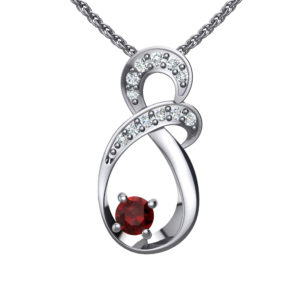 "Solid Sterling Silver Two-tier Decked Round Swarovski Crystals with a 8-Shape Design & Natural Garnet on an 17.5"" Anchor Chain"