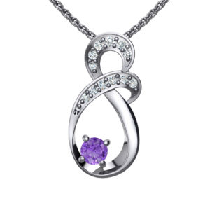 """Solid Sterling Silver Two-tier Decked Round Swarovski Crystals with a 8-Shape Design & Natural Violet Tanzanite on an 17.5"""" Anchor Chain"""