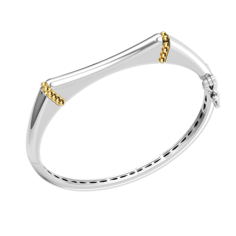 Solid Sterling Silver Bracelet with Gold Wire for Women