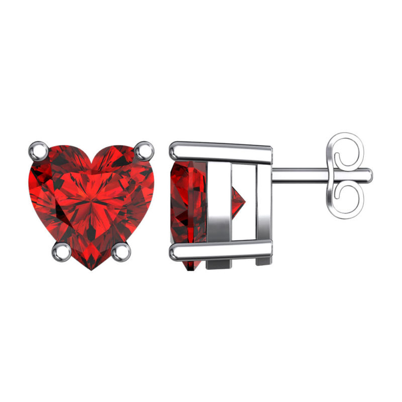 Solid Sterling Silver 5mm Heart Shaped Natural Garnet High Polished Stud Earrings with Push Backs