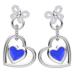Solid Sterling Silver Blue Enamel Heart Shaped Earrings with CZ Butterfly