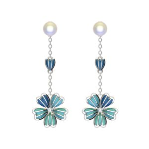 Solid Sterling Silver Blue Enamel Flower Drop Earrings on a Cable Chain with Mother of Pearl and White CZ