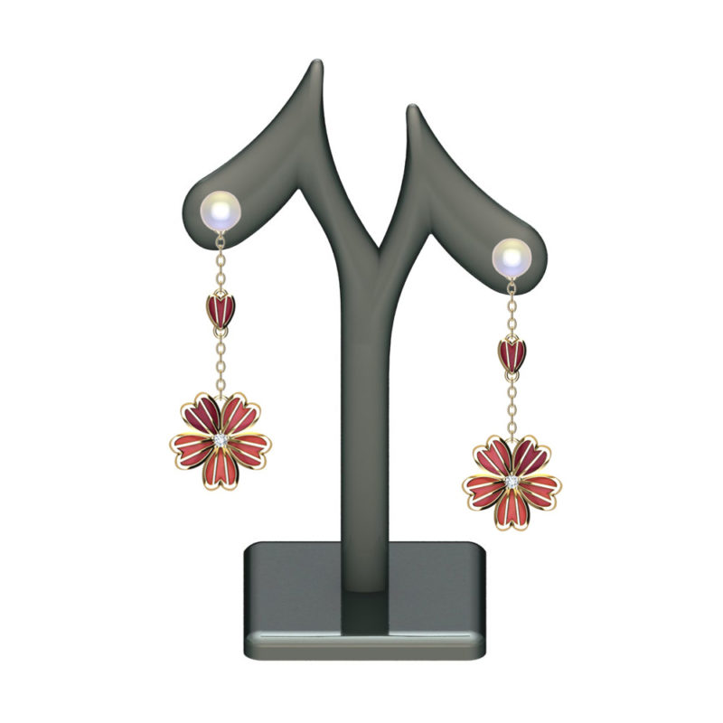 Solid Sterling Silver Pink Enamel Flower Drop Earrings on a Cable Chain with Mother of Pearl and White CZ