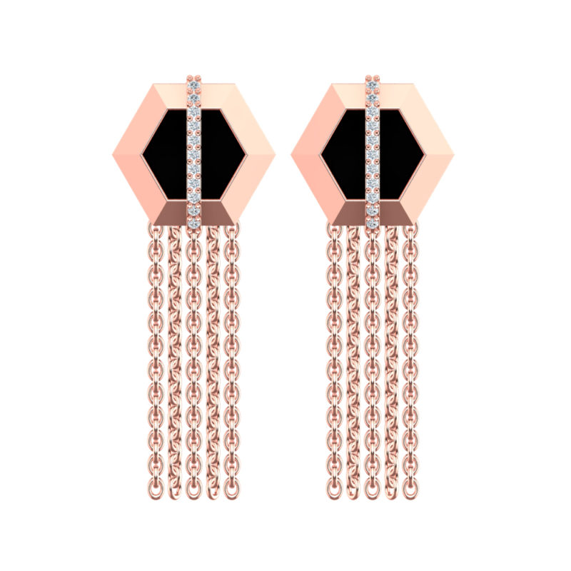 Solid Sterling Silver Rose Gold Plating Hexagon Border, Black Enamel background with Rose Gold Chain and Vertical Lab-Grown White Sapphires in the Center of a Drop Earring