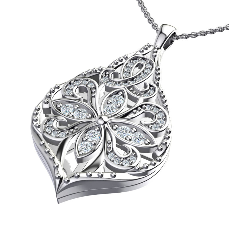 Solid Sterling Silver Teardrop Pendant with Floral Design and White CZ Accents on 17.5 inch Anchor Chain