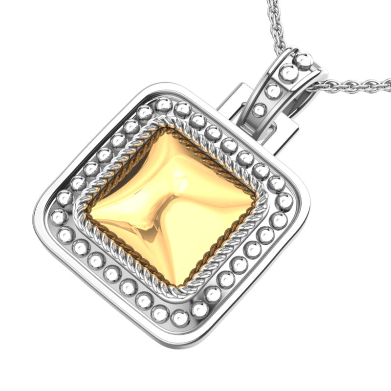 Solid Sterling Silver 14k Gold Square Pendant with 18 inch Anchor Chain