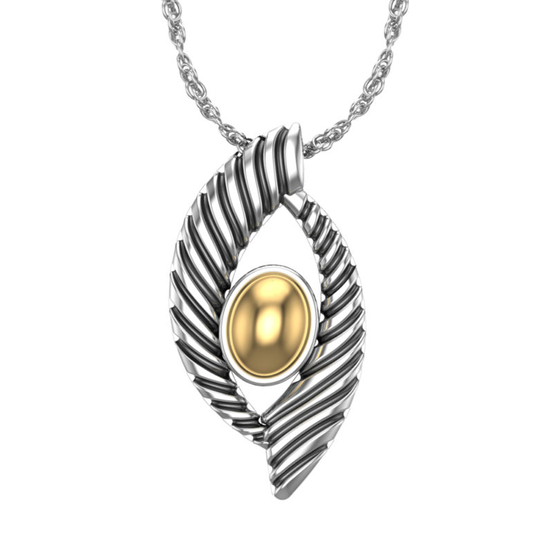 Solid Sterling Silver and Solid Gold Striped Dome Pendant Necklace