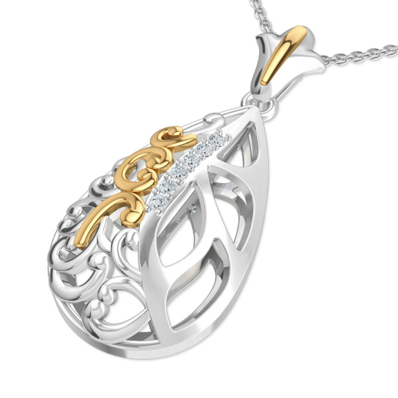 Sterling Silver and 14K Yellow Gold Pendant with White Topaz on 17.5 inch Anchor Chain