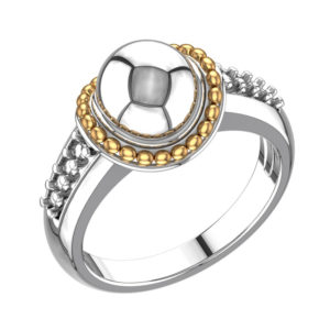 Sterling Silver Ball Ring with Gold Wire and White Topaz