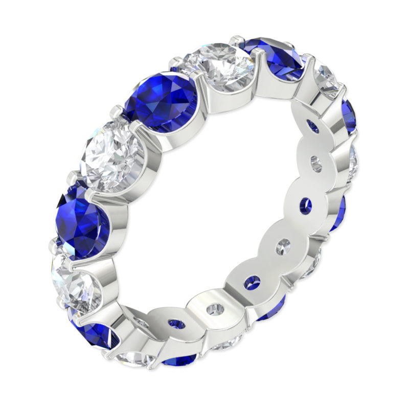 Solid Sterling Silver 5.5 CTW Eternity Ring with Created Blue Sapphire & White Sapphire Gemstones
