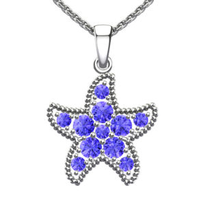 Solid Sterling Silver Purple Tanzanite Encrusted Starfish Necklace with 17.5 inch Anchor Chain