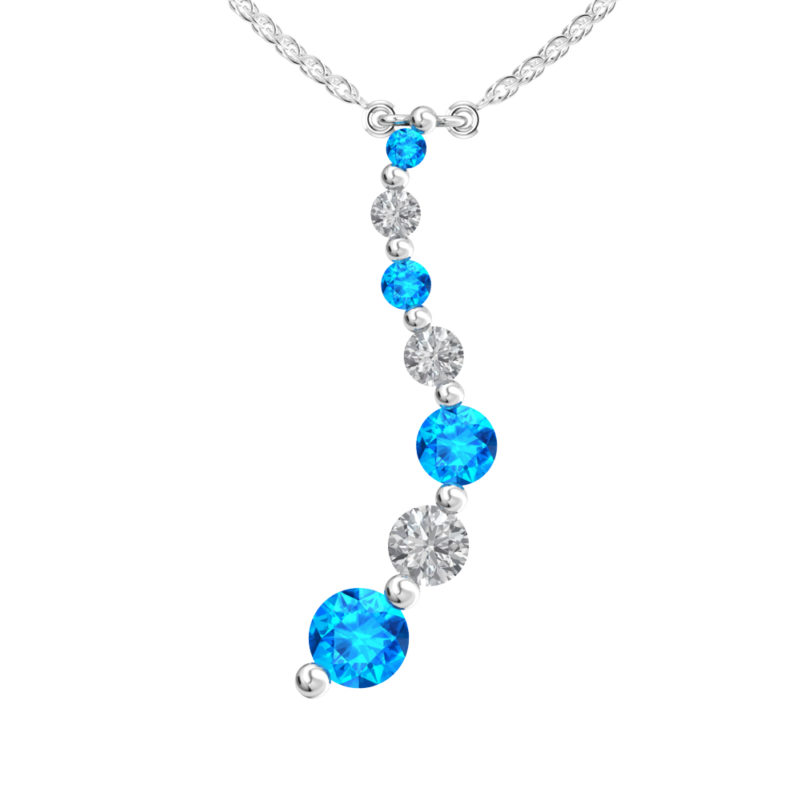 Solid Sterling Silver Swiss Blue & White Topaz Gemstone Pendant Necklace