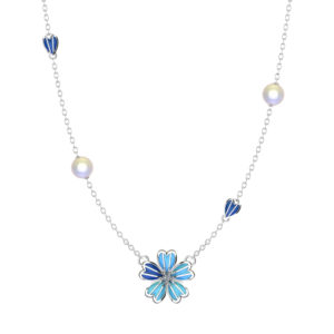 """Solid Sterling Silver Blue Enamel Flower 12mm Necklace with White Topaz in Center & 18"""" Rope Chain"""