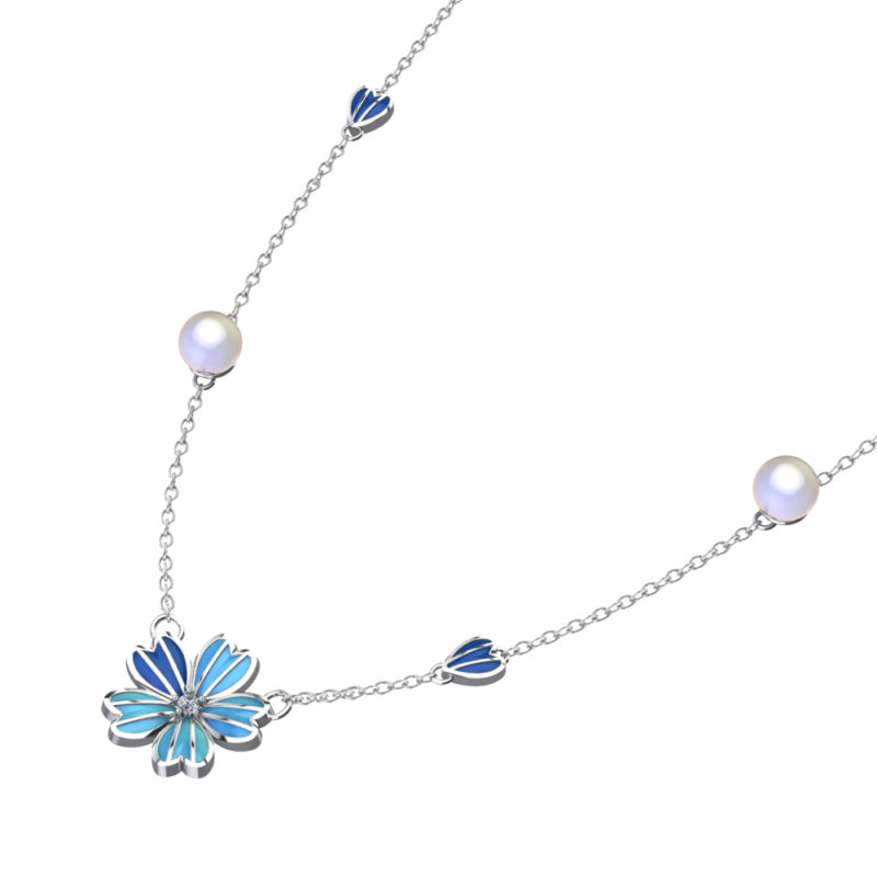 "Solid Sterling Silver Blue Enamel Flower 12mm Necklace with White Topaz in Center & 18"" Rope Chain"