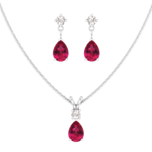 Sterling Silver Jewelry Set for Women with Lab-Grown Ruby and Natural White Topaz Pendant Necklace and Matching Stud Earrings