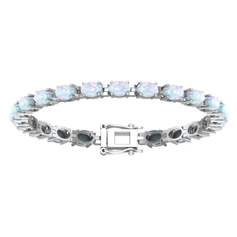 Solid Sterling Silver 6x4mm Oval Cut 6.5 CTW Opal Brilliant Sparkle Tennis Bracelet for Women