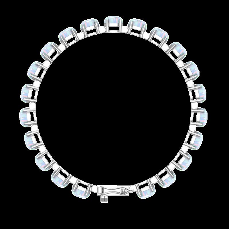 Solid Sterling Silver 6x4mm Oval Cut 6.5 CTW Opal Brilliant Sparkle Tennis Bracelet for Women
