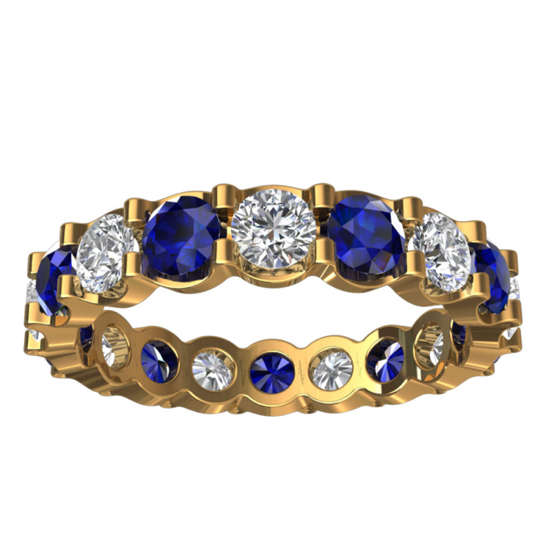 Solid Sterling Silver Gold Plated 5.5 CTW Eternity Ring with Created Blue Sapphire & White Sapphire Gemstones