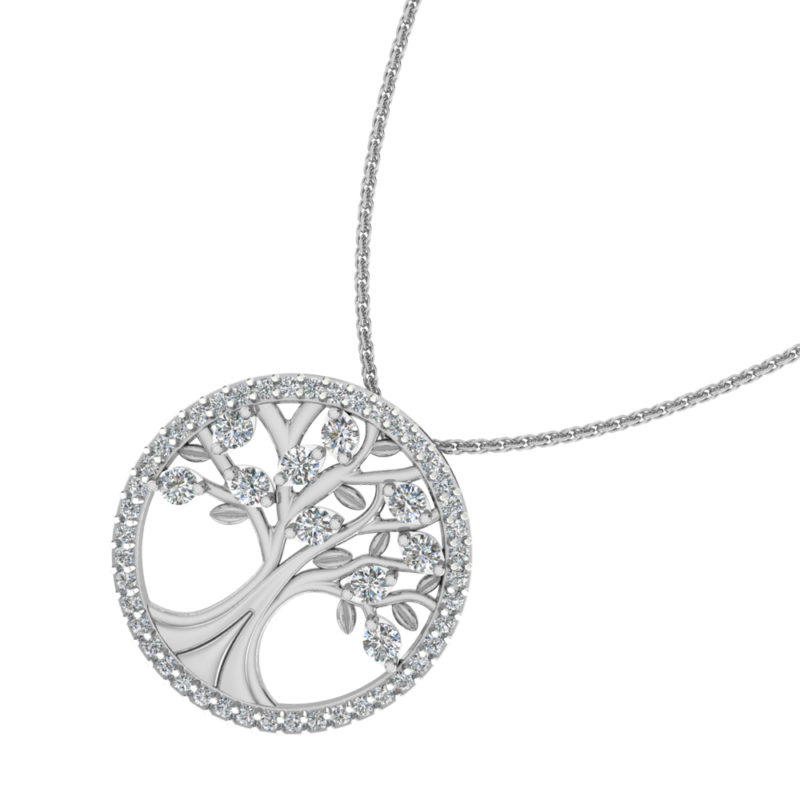 Solid Sterling Silver Tree of Life Pendant with Sparkling Cubic Zirconia on 17.5 inch Anchor Chain