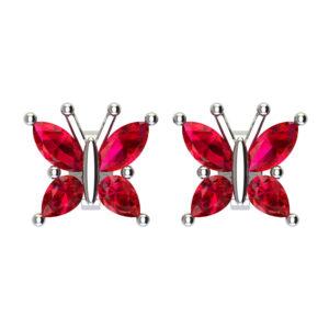 Beautiful Sterling Silver Created Ruby Butterfly Stud Earrings