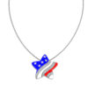 American Flag Patriotic Jewelry Set with Star Pendant and Matching Earrings