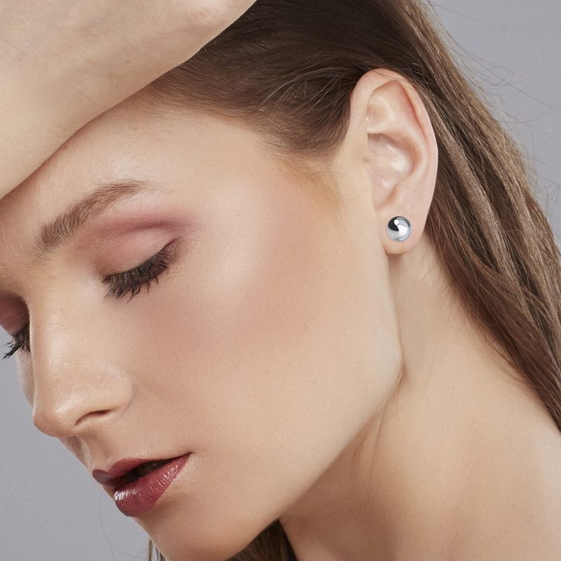 5mm 18K Solid White Gold Ball Earrings Stud with Backs