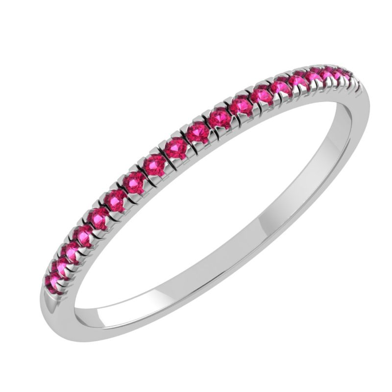 Solid Sterling Silver Dainty & Delicate Ruby Band Ring for Women