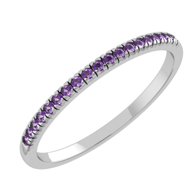 Solid Sterling Silver Dainty & Delicate Natural Amethyst Band Ring for Women