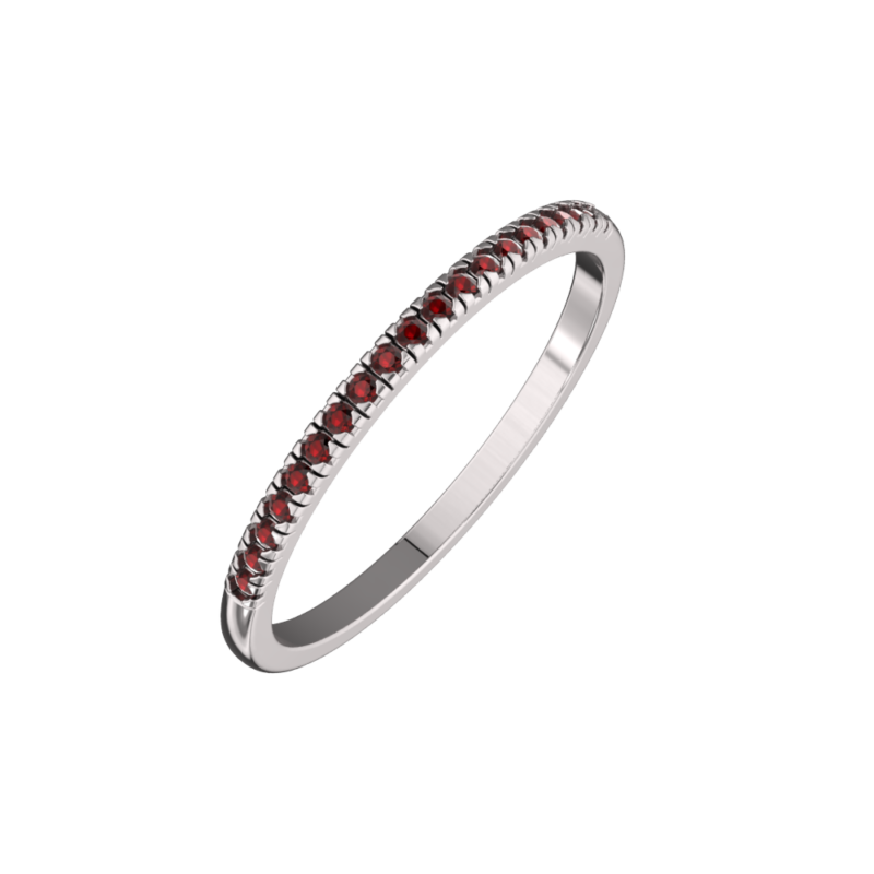Solid Sterling Silver Dainty & Delicate Garnet Band Ring for Women