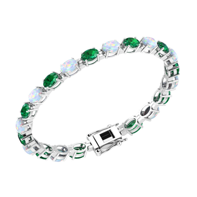 Solid Sterling Silver 6x4mm Oval Cut 4.8 CTW Emerald and Opal Brilliant Sparkle Tennis Bracelet for Women