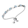 Solid Sterling Silver 4mm Square Shaped Natural Sky Blue Topaz Bracelet with Adjustable Bead Clasp