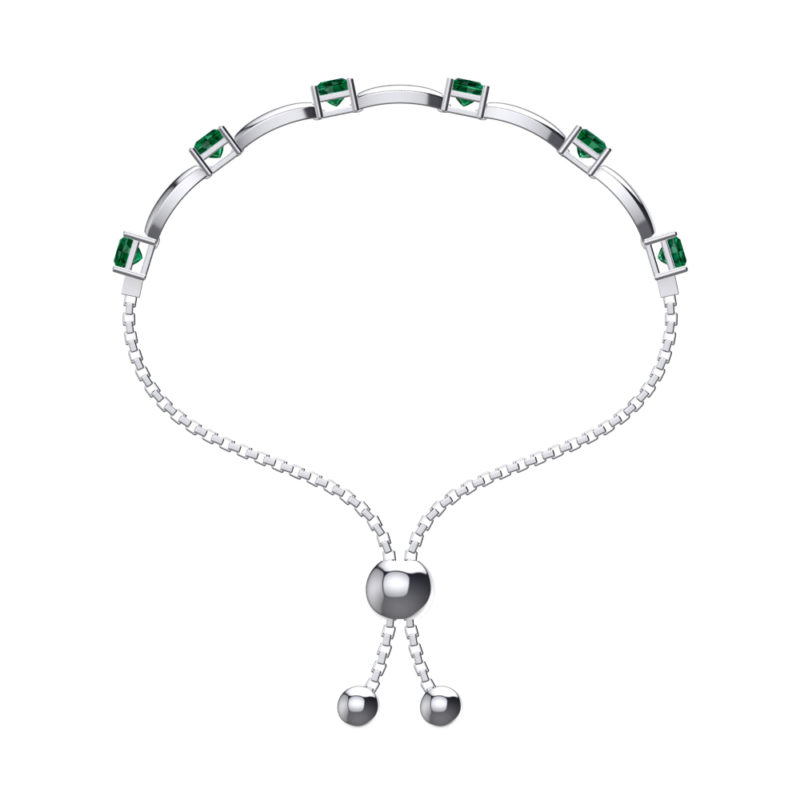Solid Sterling Silver 4mm Square Shaped Emerald Bracelet with Adjustable Bead Clasp