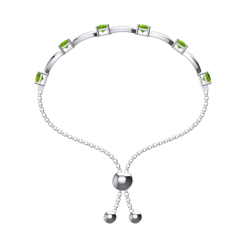 Solid Sterling Silver 4mm Square Shaped Natural Peridot Bracelet with Adjustable Bead Clasp