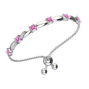 Solid Sterling Silver 4mm Square Shaped Natural Pink Topaz Bracelet with Adjustable Bead Clasp