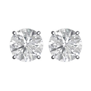Solid Sterling Silver 5mm Birthstone Stud Earrings in White CZ