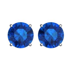 Solid Sterling Silver 5mm Birthstone Stud Earrings in Swiss Blue Topaz CZ