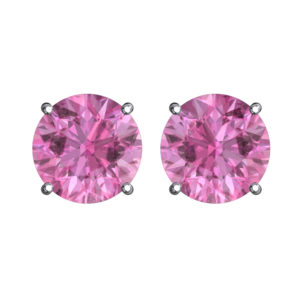 Solid Sterling Silver 5mm Birthstone Stud Earrings in Pink CZ