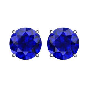 Solid Sterling Silver 5mm Birthstone Stud Earrings in Blue Sapphire CZ