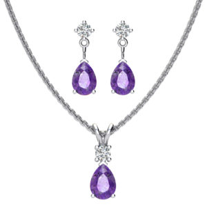 Sterling Silver Jewelry Set for Women with Amethyst and Natural White Topaz Pendant Necklace and Matching Stud Earrings