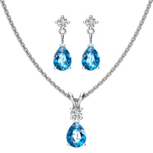 Sterling Silver Jewelry Set for Women with Swiss Blue Topaz and Natural White Topaz Pendant Necklace and Matching Stud Earrings