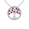 Solid Sterling Silver Tree of Life Pendant with Sparkling Created Ruby on 17.5 inch Anchor Chain