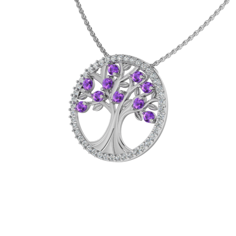Solid Sterling Silver Tree of Life Pendant with Sparkling Amethyst on 17.5 inch Anchor Chain