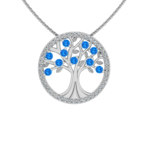 Solid Sterling Silver Tree of Life Pendant with Sparkling Swiss Blue CZ