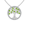 Solid Sterling Silver Tree of Life Pendant with Sparkling Peridot CZ on 17.5 inch Anchor Chain