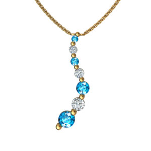 Solid Sterling Silver Gold Plated Swiss Blue & White Topaz Gemstone Pendant Necklace