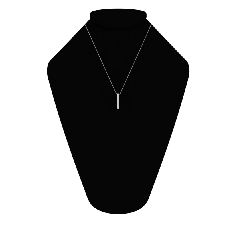 Solid Sterling Silver Engraved 3D Bar Necklace with White CZs